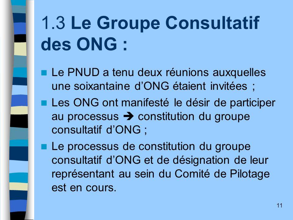 11 1.3 Le Groupe Consultatif des ONG : Le PNUD a tenu deux réunions auxquelles une soixantaine dONG étaient invitées ; Les ONG ont manifesté le désir
