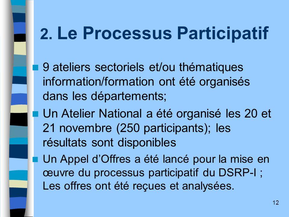 12 2. Le Processus Participatif 9 ateliers sectoriels et/ou thématiques information/formation ont été organisés dans les départements; Un Atelier Nati