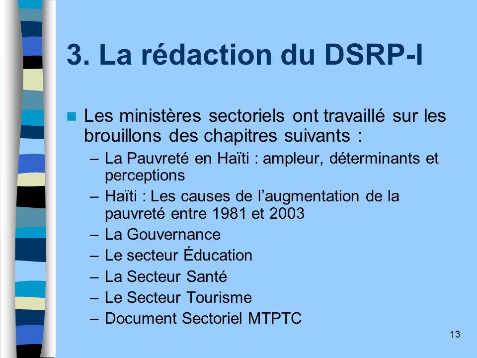 13 3. La rédaction du DSRP-I Les ministères sectoriels ont travaillé sur les brouillons des chapitres suivants : – La Pauvreté en Haïti : ampleur, dét