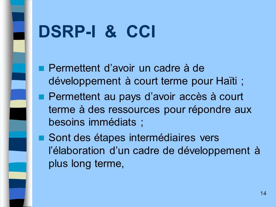14 DSRP-I & CCI Permettent davoir un cadre à de développement à court terme pour Haïti ; Permettent au pays davoir accès à court terme à des ressource