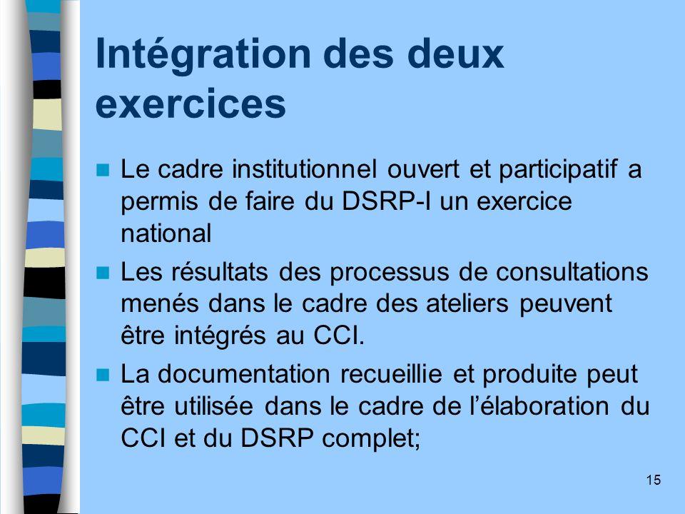 15 Intégration des deux exercices Le cadre institutionnel ouvert et participatif a permis de faire du DSRP-I un exercice national Les résultats des pr