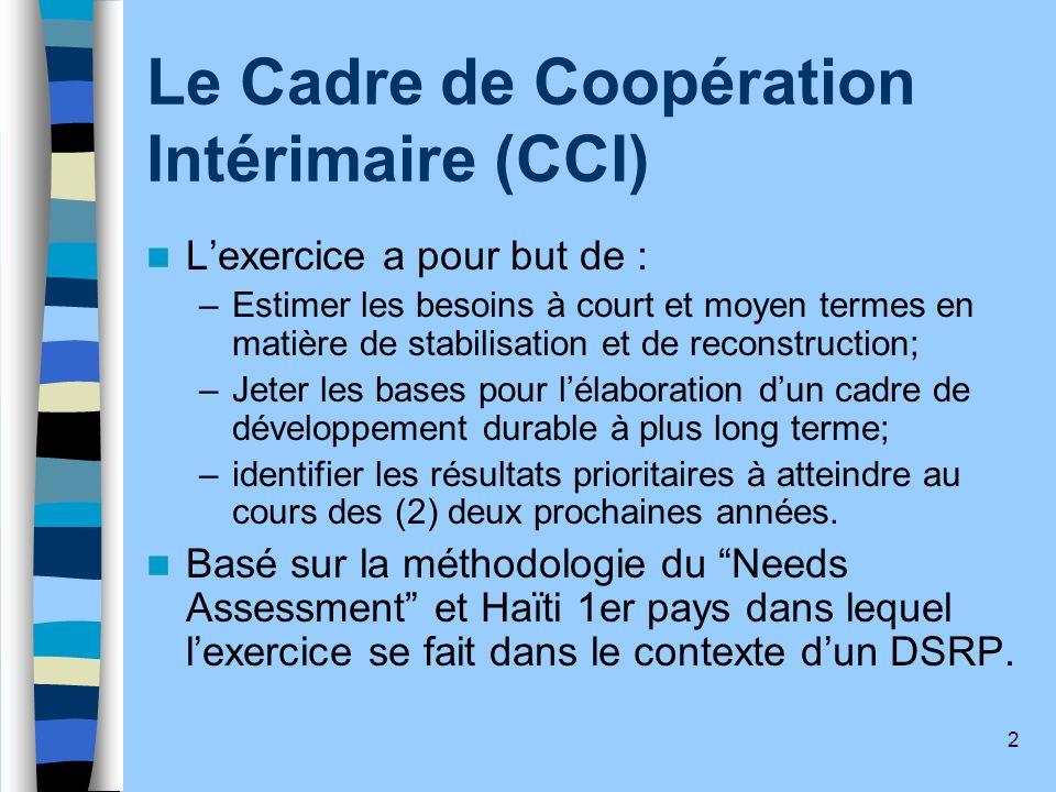 2 Le Cadre de Coopération Intérimaire (CCI) Lexercice a pour but de : –Estimer les besoins à court et moyen termes en matière de stabilisation et de r