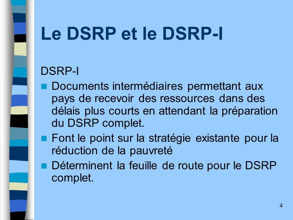 4 Le DSRP et le DSRP-I DSRP-I Documents intermédiaires permettant aux pays de recevoir des ressources dans des délais plus courts en attendant la prép