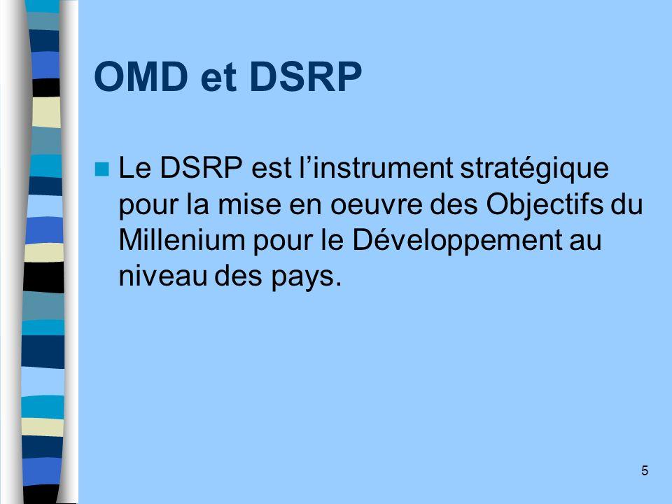 5 OMD et DSRP Le DSRP est linstrument stratégique pour la mise en oeuvre des Objectifs du Millenium pour le Développement au niveau des pays.