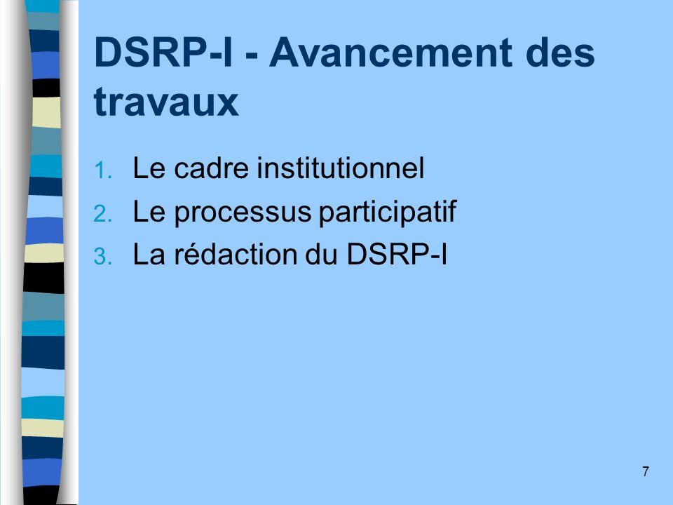 8 1.- Le cadre institutionnel du DSRP-I Un comité de pilotage Un Groupe Interministériel dAppui au Processus Un Groupe Consultatif des Personnes Ressources Un Groupe Consultatif des ONG Un Groupe Consultatif des Bailleurs de Fonds Un Secrétariat Technique