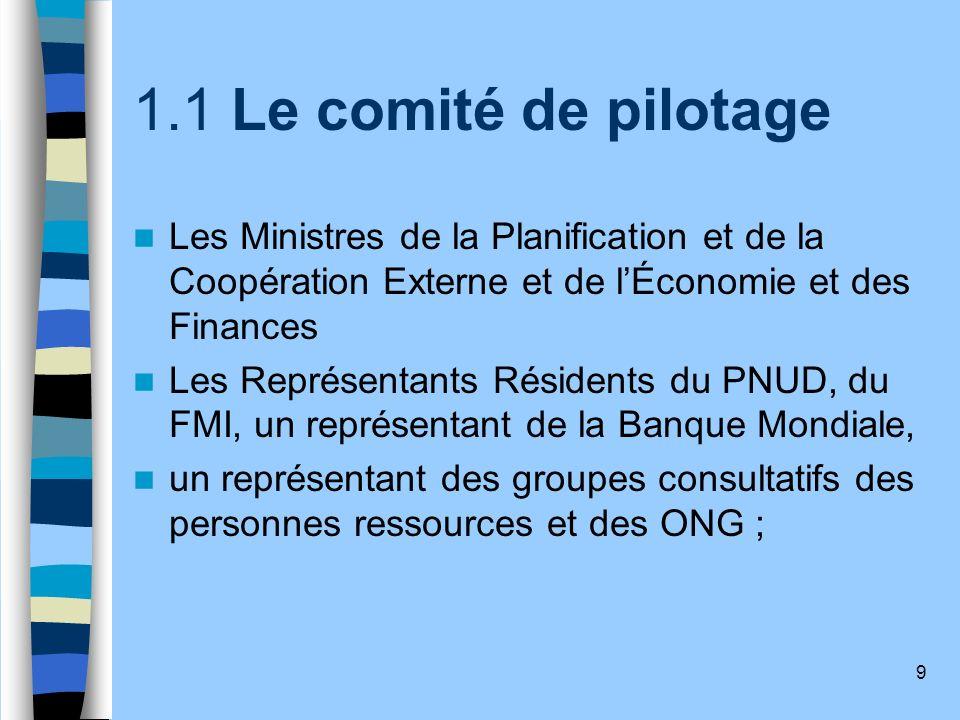 9 1.1 Le comité de pilotage Les Ministres de la Planification et de la Coopération Externe et de lÉconomie et des Finances Les Représentants Résidents