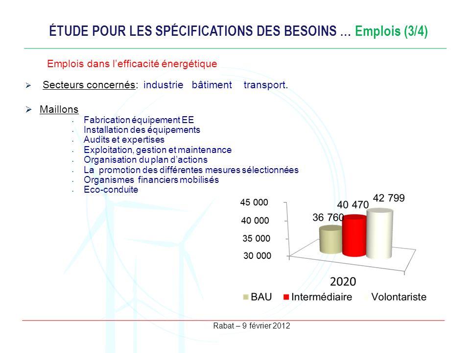 Rabat – 9 février 2012 ÉTUDE POUR LES SPÉCIFICATIONS DES BESOINS … Emplois (3/4) Secteurs concernés: industrie bâtiment transport. Maillons Fabricatio