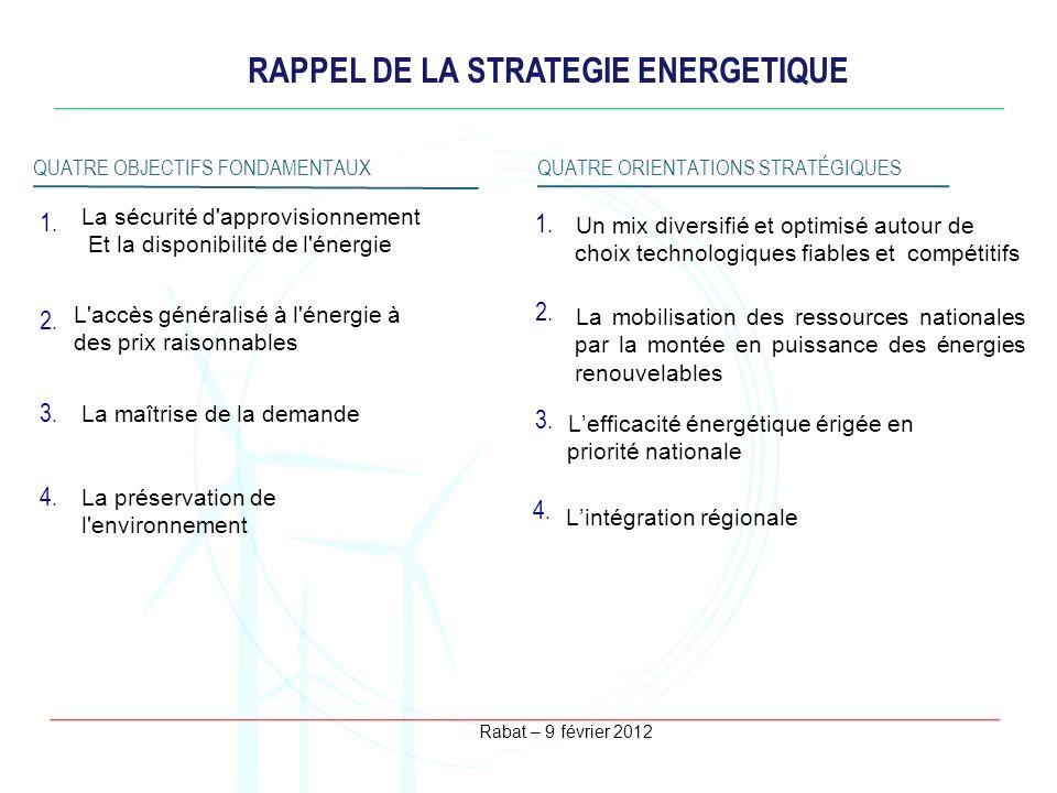 Rabat – 9 février 2012 RAPPEL DE LA STRATEGIE ENERGETIQUE QUATRE OBJECTIFS FONDAMENTAUXQUATRE ORIENTATIONS STRATÉGIQUES La préservation de l'environne