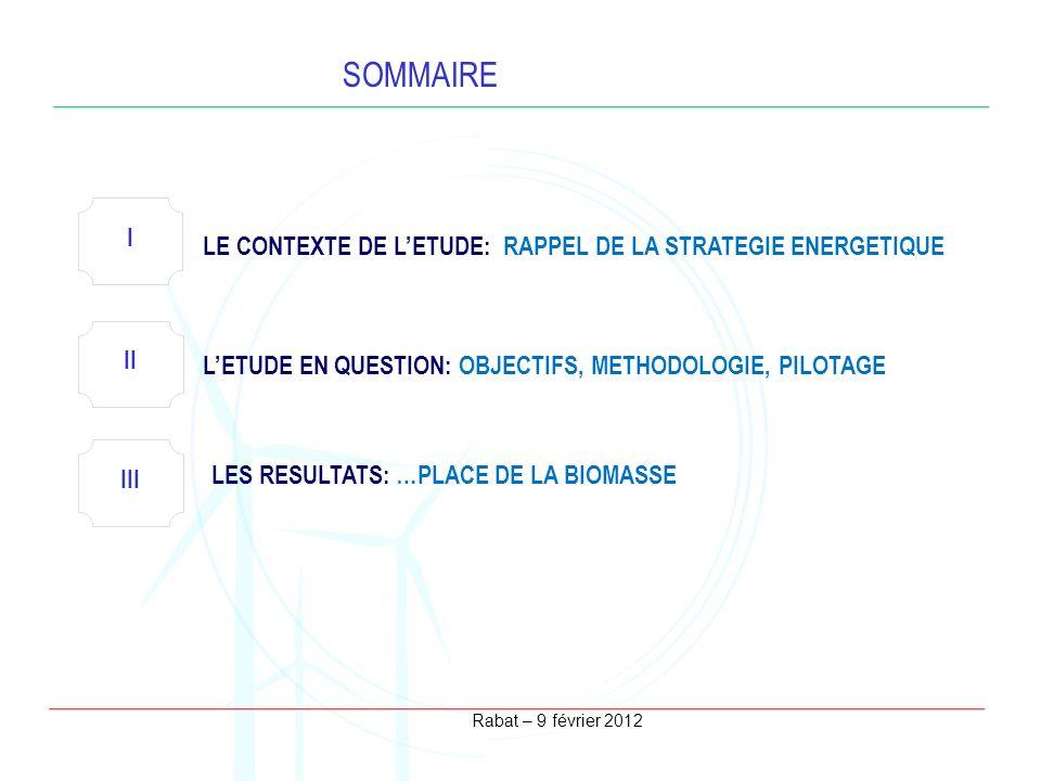 Rabat – 9 février 2012 SOMMAIRE I LE CONTEXTE DE LETUDE: RAPPEL DE LA STRATEGIE ENERGETIQUE II LETUDE EN QUESTION: OBJECTIFS, METHODOLOGIE, PILOTAGE L