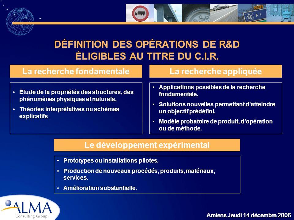 Amiens Jeudi 14 décembre 2006 DÉFINITION DES OPÉRATIONS DE R&D ÉLIGIBLES AU TITRE DU C.I.R. La recherche fondamentaleLa recherche appliquée Le dévelop