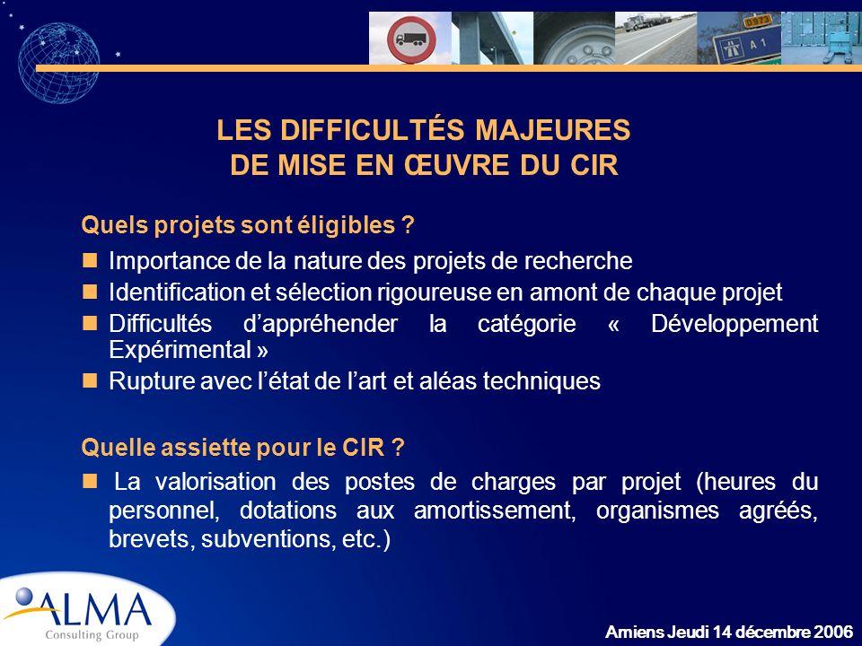 Amiens Jeudi 14 décembre 2006 LES DIFFICULTÉS MAJEURES DE MISE EN ŒUVRE DU CIR Quels projets sont éligibles ? Importance de la nature des projets de r