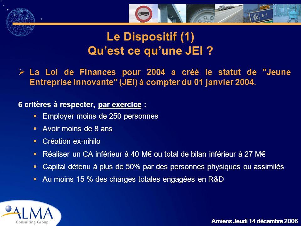 Amiens Jeudi 14 décembre 2006 Le Dispositif (1) Quest ce quune JEI ? La Loi de Finances pour 2004 a créé le statut de