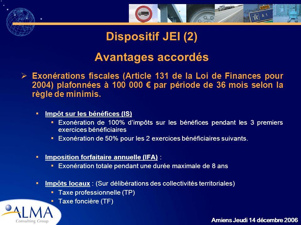 Amiens Jeudi 14 décembre 2006 Dispositif JEI (2) Avantages accordés Exonérations fiscales (Article 131 de la Loi de Finances pour 2004) plafonnées à 1