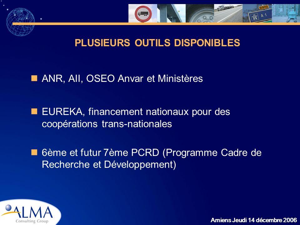 Amiens Jeudi 14 décembre 2006 ANR, AII, OSEO Anvar et Ministères EUREKA, financement nationaux pour des coopérations trans-nationales 6ème et futur 7è