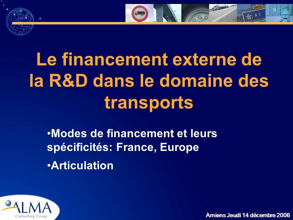 Amiens Jeudi 14 décembre 2006 Le financement externe de la R&D dans le domaine des transports Modes de financement et leurs spécificités: France, Euro