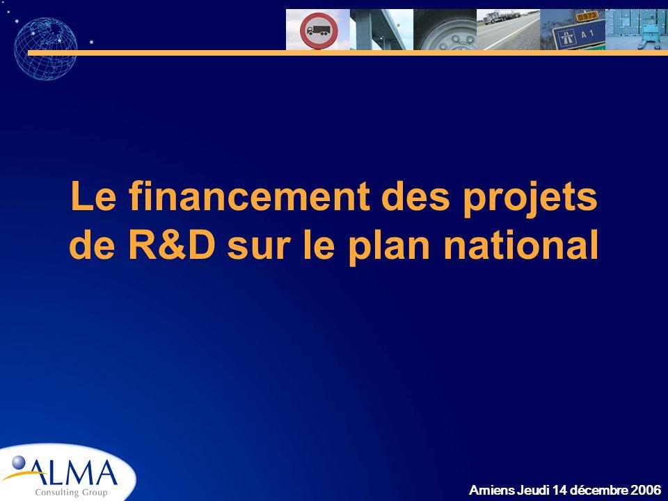 Amiens Jeudi 14 décembre 2006 Le financement des projets de R&D sur le plan national