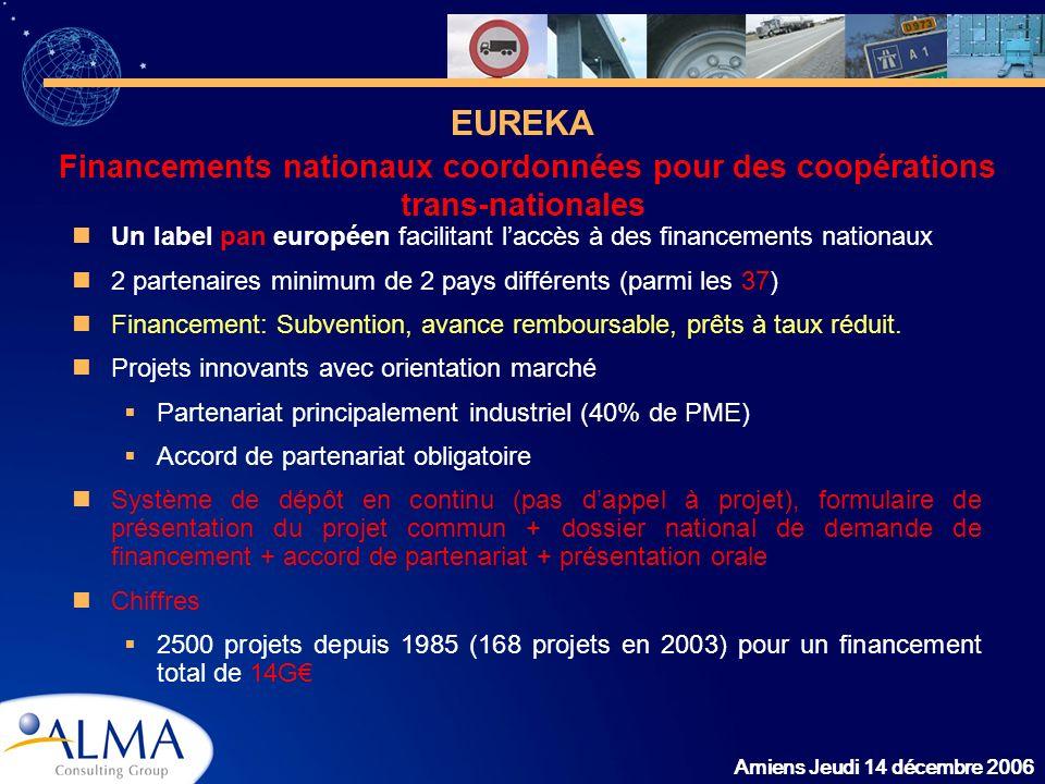 Amiens Jeudi 14 décembre 2006 Un label pan européen facilitant laccès à des financements nationaux 2 partenaires minimum de 2 pays différents (parmi l