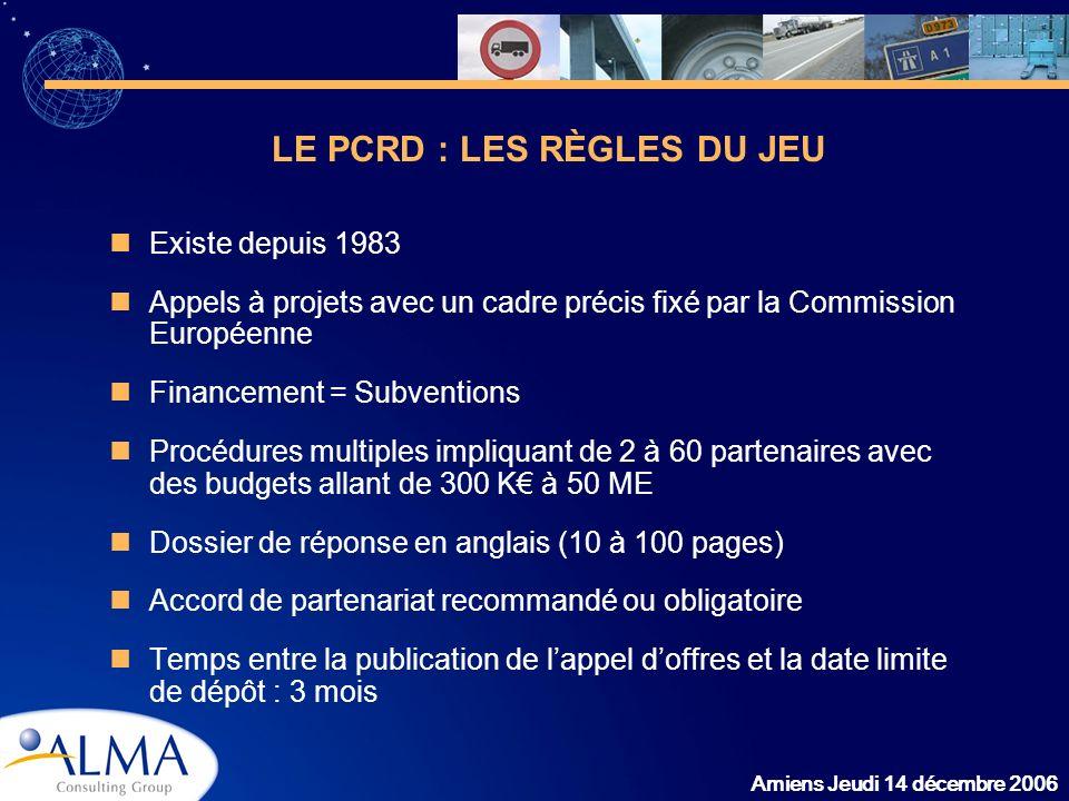 Amiens Jeudi 14 décembre 2006 Existe depuis 1983 Appels à projets avec un cadre précis fixé par la Commission Européenne Financement = Subventions Pro