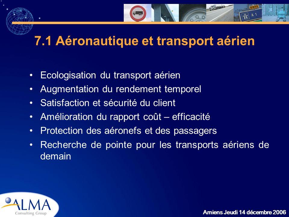 Amiens Jeudi 14 décembre 2006 7.1 Aéronautique et transport aérien Ecologisation du transport aérien Augmentation du rendement temporel Satisfaction e