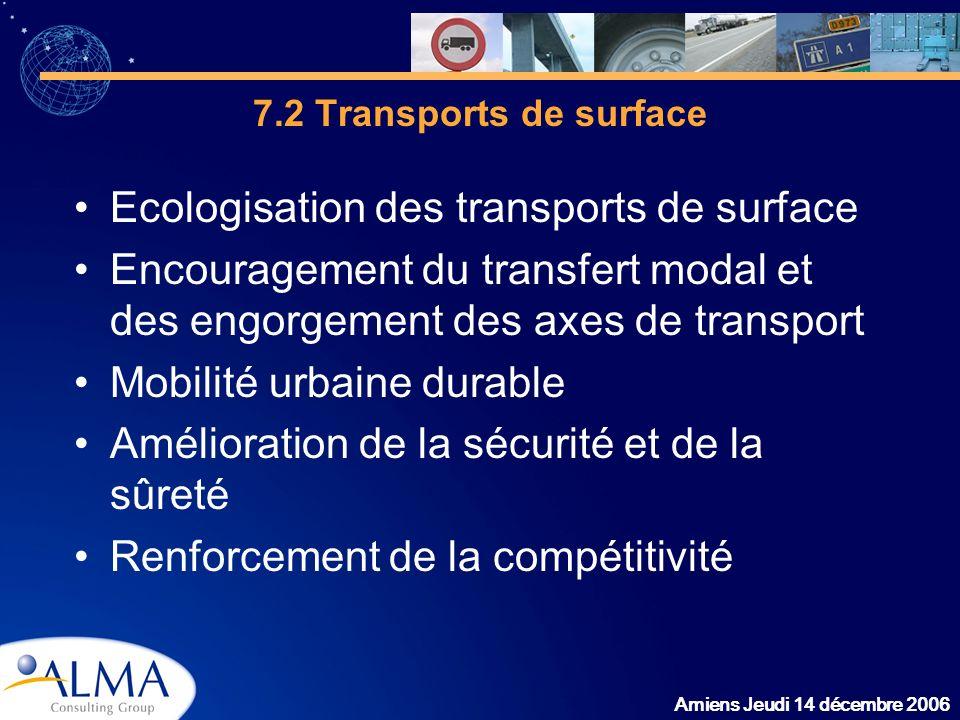 Amiens Jeudi 14 décembre 2006 7.2 Transports de surface Ecologisation des transports de surface Encouragement du transfert modal et des engorgement de