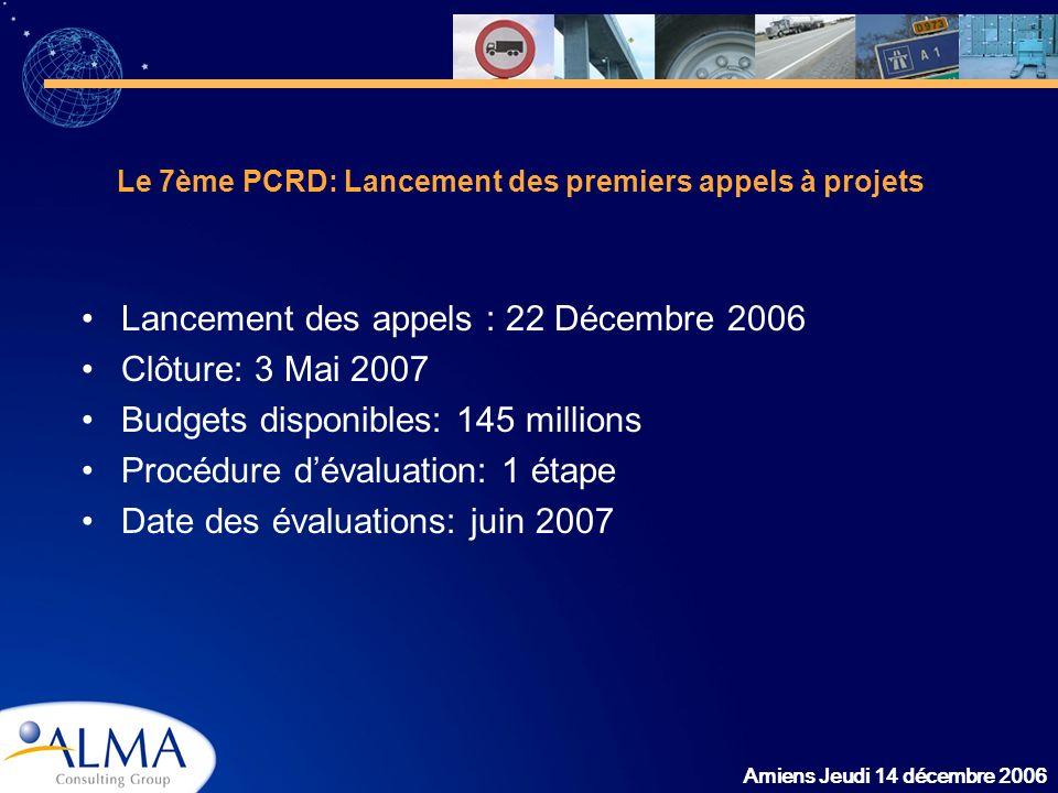 Amiens Jeudi 14 décembre 2006 Le 7ème PCRD: Lancement des premiers appels à projets Lancement des appels : 22 Décembre 2006 Clôture: 3 Mai 2007 Budget