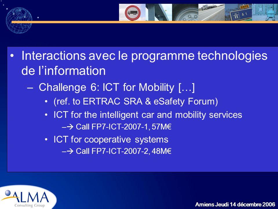 Amiens Jeudi 14 décembre 2006 Interactions avec le programme technologies de linformation –Challenge 6: ICT for Mobility […] (ref. to ERTRAC SRA & eSa
