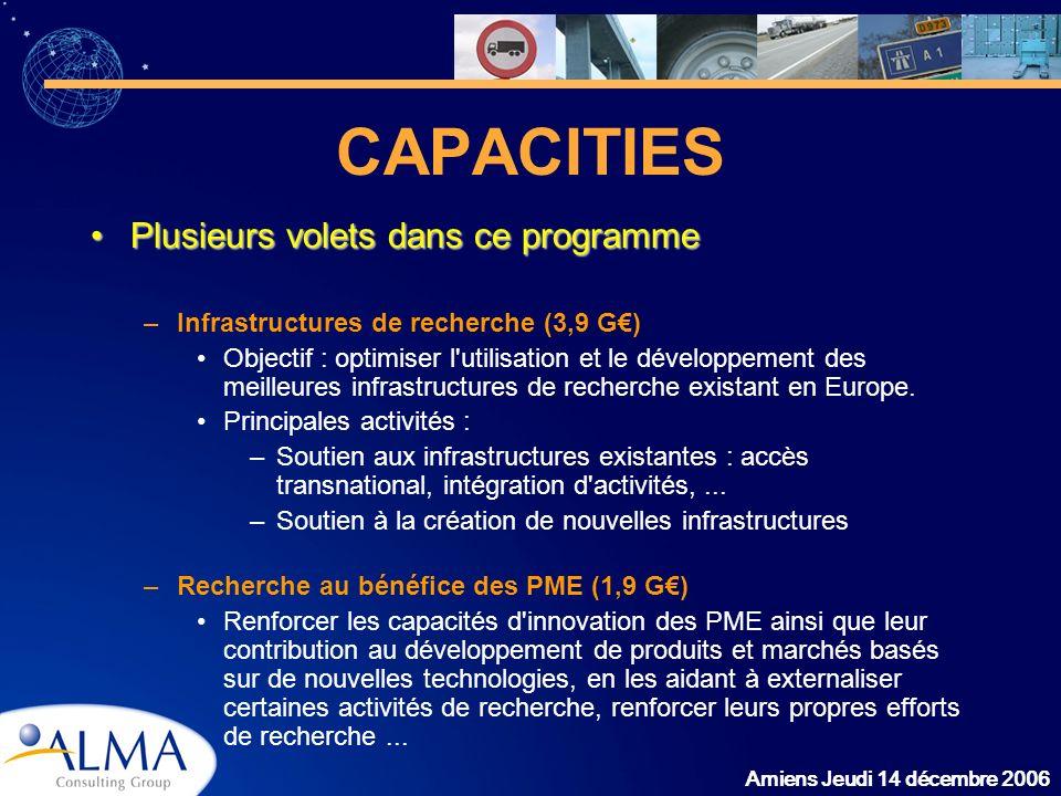 Amiens Jeudi 14 décembre 2006 CAPACITIES Plusieurs volets dans ce programmePlusieurs volets dans ce programme –Infrastructures de recherche (3,9 G) Ob