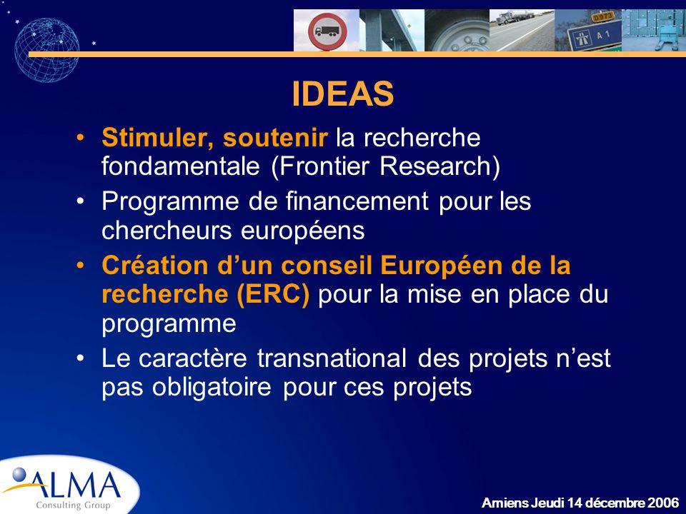 Amiens Jeudi 14 décembre 2006 IDEAS Stimuler, soutenir la recherche fondamentale (Frontier Research) Programme de financement pour les chercheurs euro