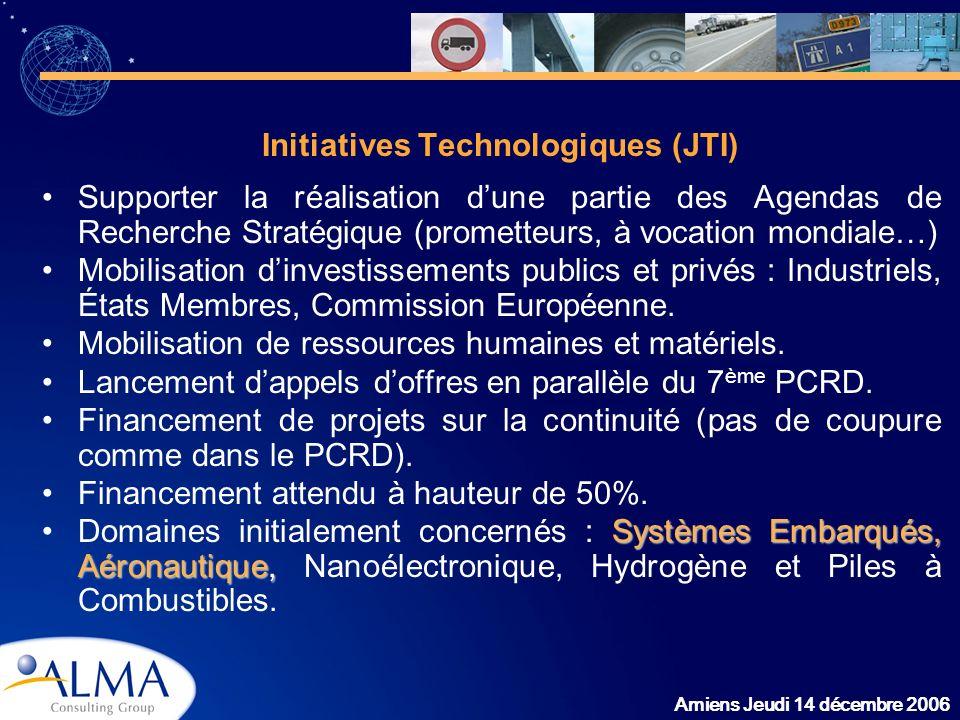 Amiens Jeudi 14 décembre 2006 Initiatives Technologiques (JTI) Supporter la réalisation dune partie des Agendas de Recherche Stratégique (prometteurs,