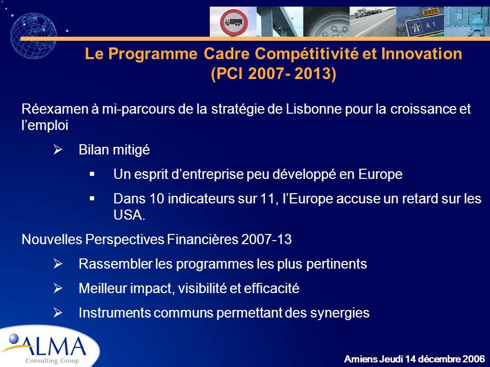 Amiens Jeudi 14 décembre 2006 Le Programme Cadre Compétitivité et Innovation (PCI 2007- 2013) Réexamen à mi-parcours de la stratégie de Lisbonne pour