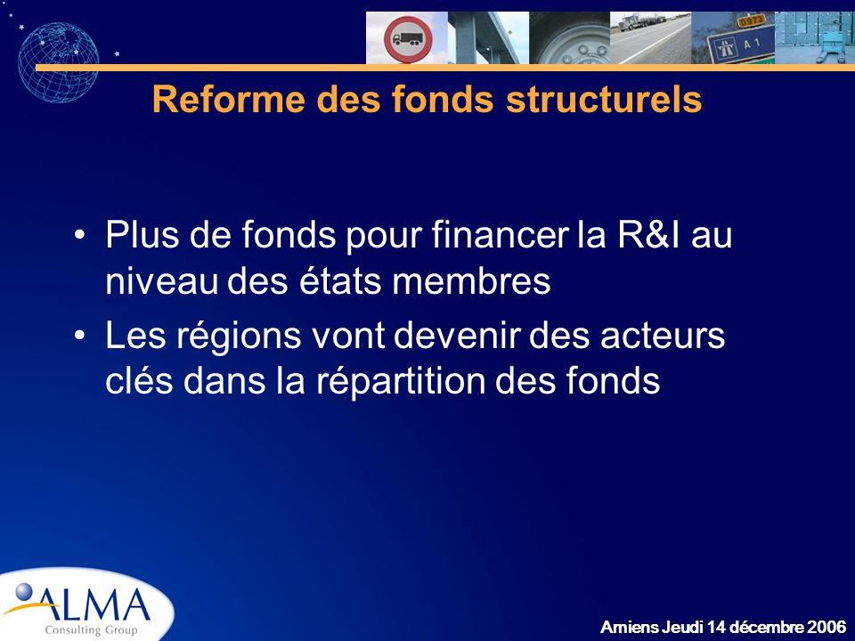Amiens Jeudi 14 décembre 2006 Reforme des fonds structurels Plus de fonds pour financer la R&I au niveau des états membres Les régions vont devenir de