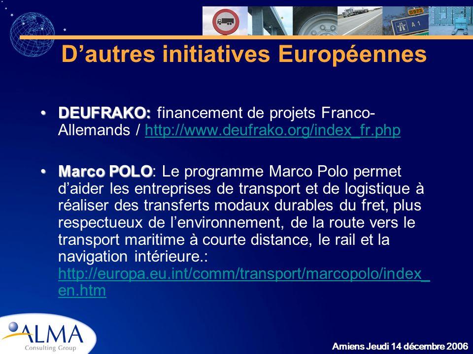 Amiens Jeudi 14 décembre 2006 Dautres initiatives Européennes DEUFRAKO:DEUFRAKO: financement de projets Franco- Allemands / http://www.deufrako.org/in