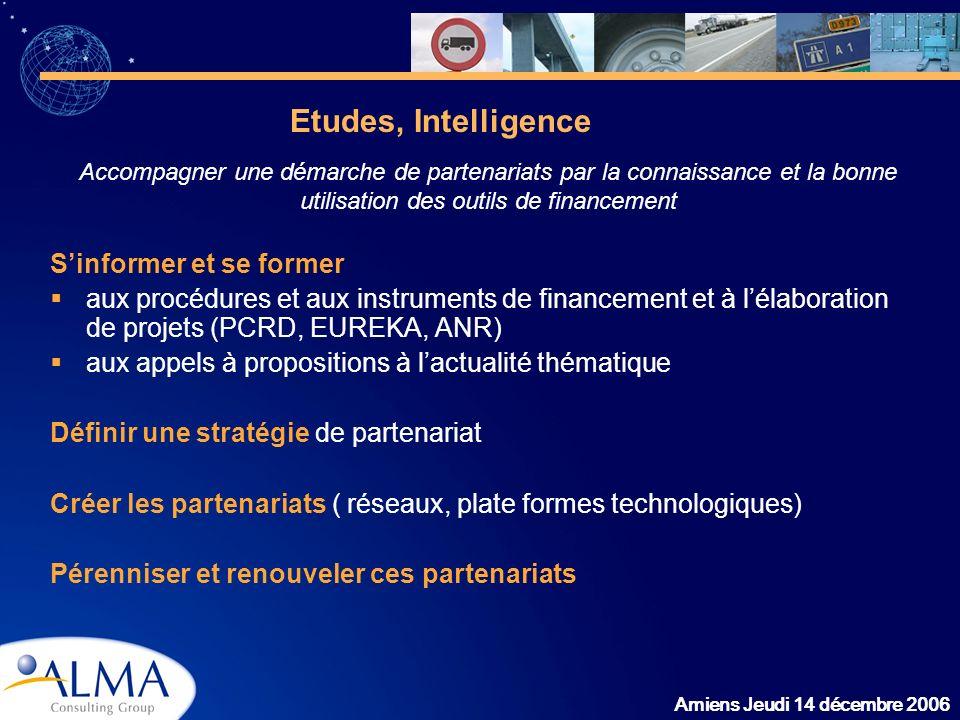Amiens Jeudi 14 décembre 2006 Sinformer et se former aux procédures et aux instruments de financement et à lélaboration de projets (PCRD, EUREKA, ANR)