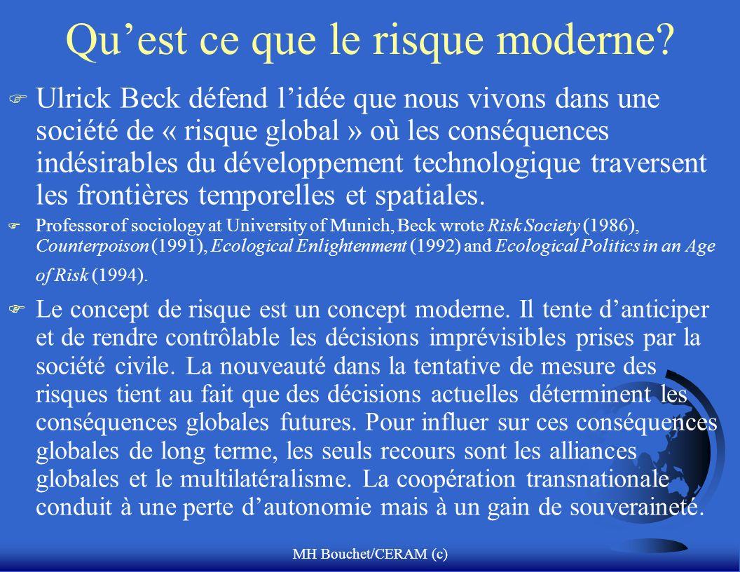 MH Bouchet/CERAM (c) Quest ce que le risque moderne? F Ulrick Beck défend lidée que nous vivons dans une société de « risque global » où les conséquen