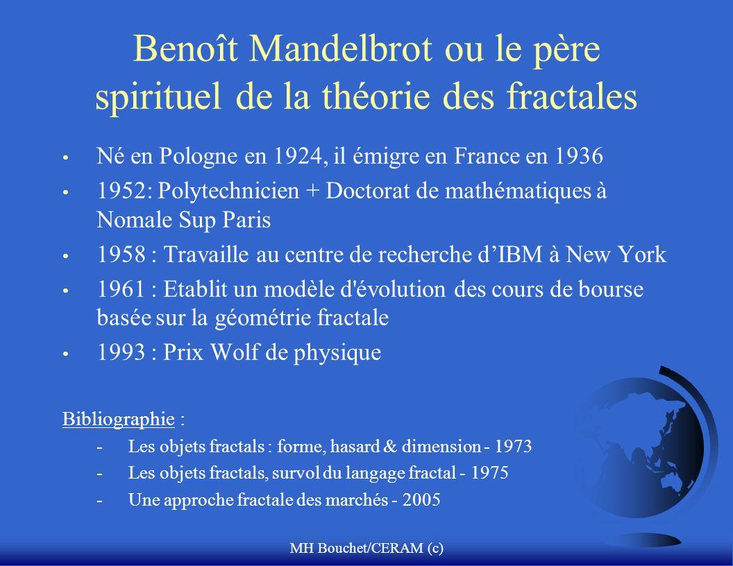 MH Bouchet/CERAM (c) Benoît Mandelbrot ou le père spirituel de la théorie des fractales Né en Pologne en 1924, il émigre en France en 1936 1952: Polyt