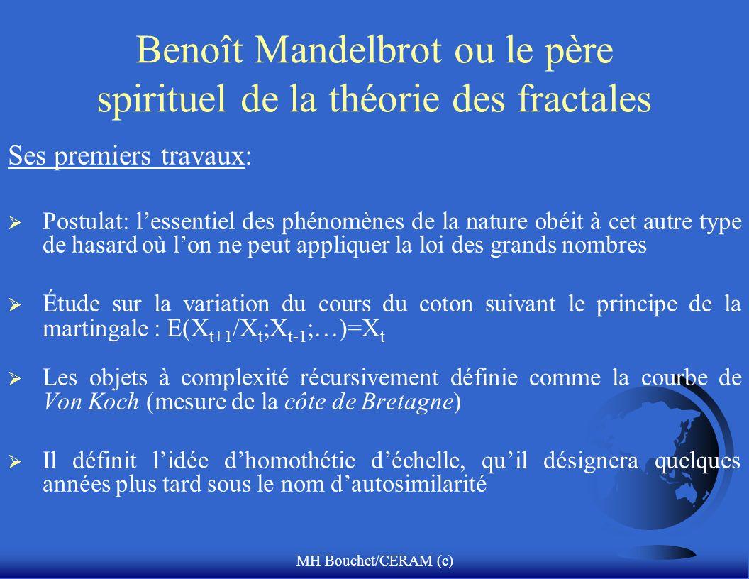 MH Bouchet/CERAM (c) Benoît Mandelbrot ou le père spirituel de la théorie des fractales Ses premiers travaux: Postulat: lessentiel des phénomènes de l