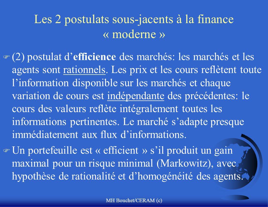 MH Bouchet/CERAM (c) Les 2 postulats sous-jacents à la finance « moderne » F (2) postulat defficience des marchés: les marchés et les agents sont rati