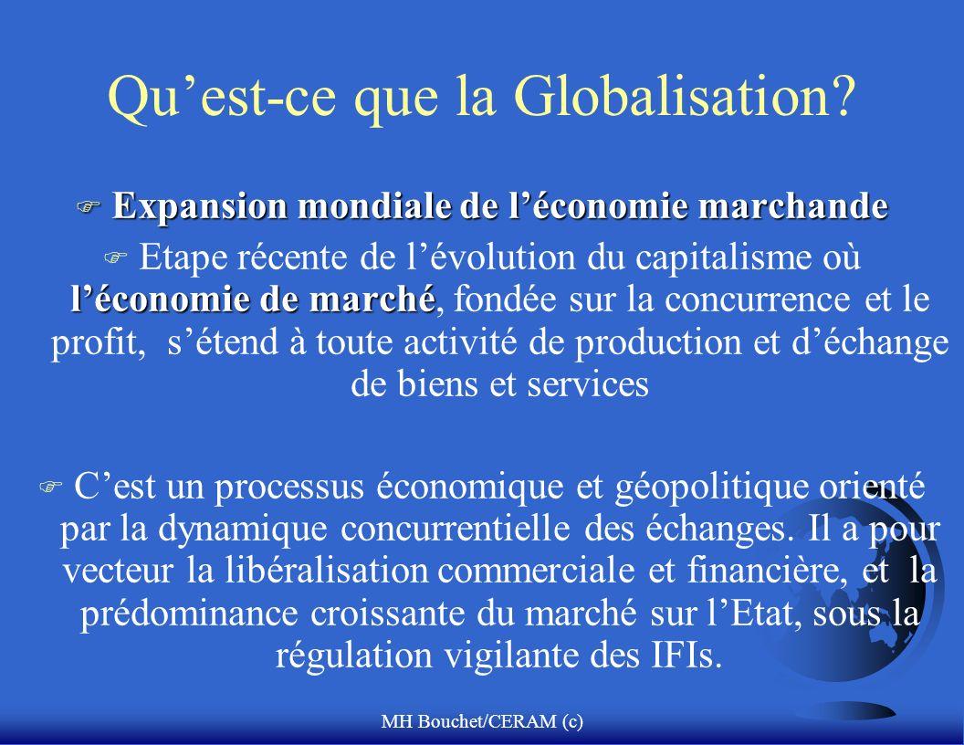 MH Bouchet/CERAM (c) Quest-ce que la Globalisation? F Expansion mondiale de léconomie marchande léconomie de marché F Etape récente de lévolution du c