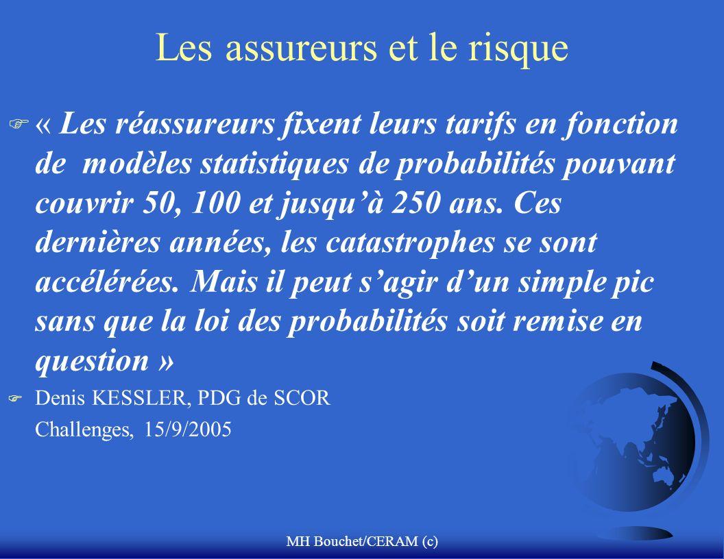 MH Bouchet/CERAM (c) Les assureurs et le risque F « Les réassureurs fixent leurs tarifs en fonction de modèles statistiques de probabilités pouvant co