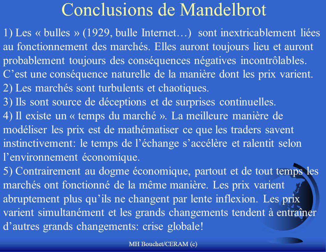 MH Bouchet/CERAM (c) Conclusions de Mandelbrot 1) Les « bulles » (1929, bulle Internet…) sont inextricablement liées au fonctionnement des marchés. El