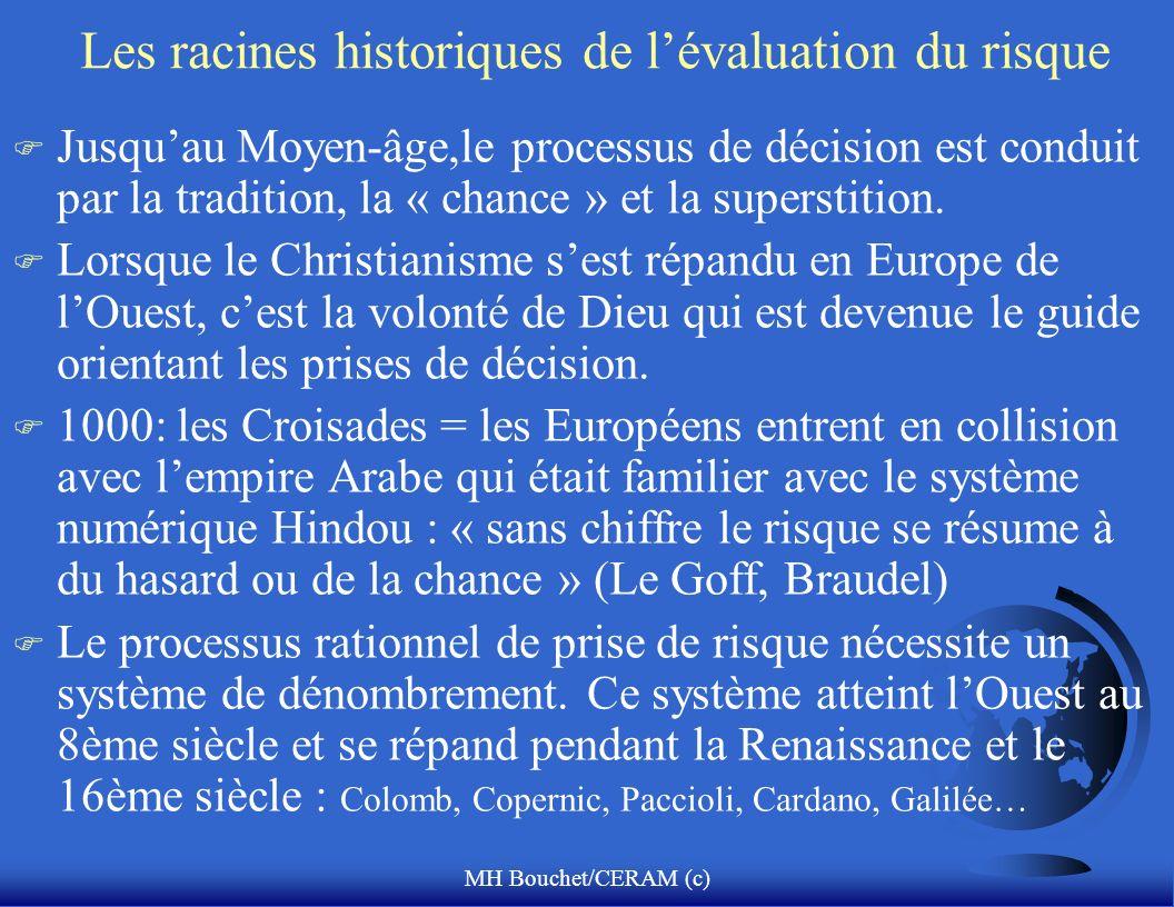 MH Bouchet/CERAM (c) Les racines historiques de lévaluation du risque F Jusquau Moyen-âge,le processus de décision est conduit par la tradition, la «
