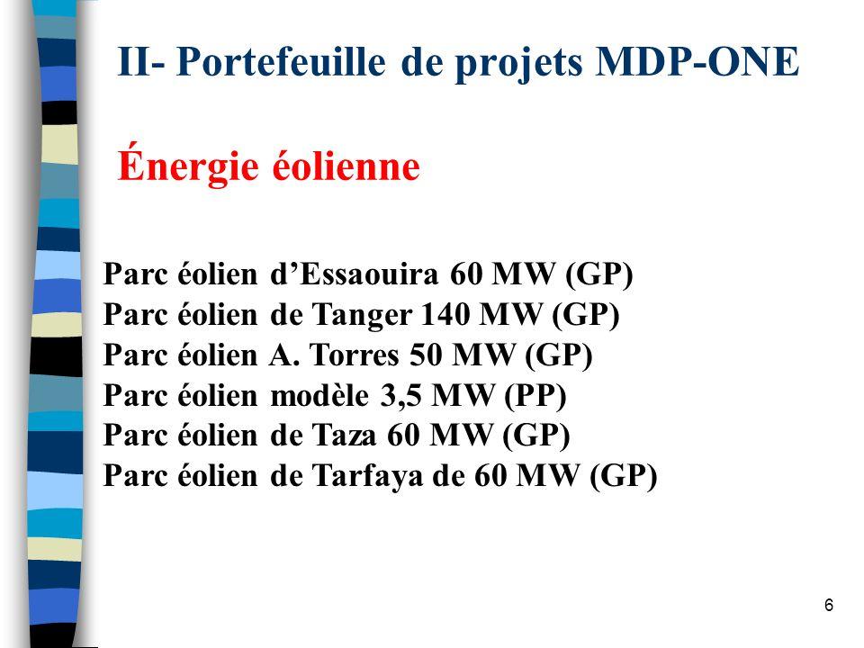 17 Aménagement hydraulique de Tanafnit El Borj Résumé du projet Projet : Aménagement hydroélectrique de Tanafnit / El Borj de 41 MW; (206 GWh) Localisation : à Tanafnit, à 40 km au nord-est de Khenifra; Catégorie : Énérgie renouvelable; Promoteur du projet : Office national de lélectricité (ONE); 1 re année de délivrance des UCRE : 2007; Période de comptabilisation : 2007-2016; Quantité des UCRE : 1,52 million; État davacement : NIP approuvée + Développement du DCP préliminaire.