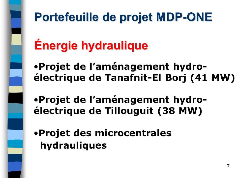 18 Aménagement hydraulique deTILLOUGUIT Résumé du projet Projet : Aménagement hydroélectrique de Tillouguit (212 GWh); Localisation : à 40 km au sud-est de Beni Mellel; Catégorie : Énérgie renouvelable; Promoteur du projet : Office national de lÉlectricité (ONE); 1 re année de délivrance des UCRE : 2007; Période de comptabilité : 2007-2016; Quantité des UCRE : 0,89 millions; État davacement : NIP approuvée + développement du DCP préliminaire.