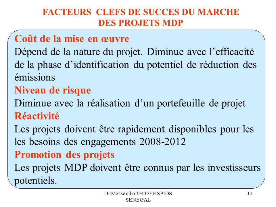 Dr Massamba THIOYE SPIDS SENEGAL 11 FACTEURS CLEFS DE SUCCES DU MARCHE DES PROJETS MDP Coût de la mise en œuvre Dépend de la nature du projet. Diminue