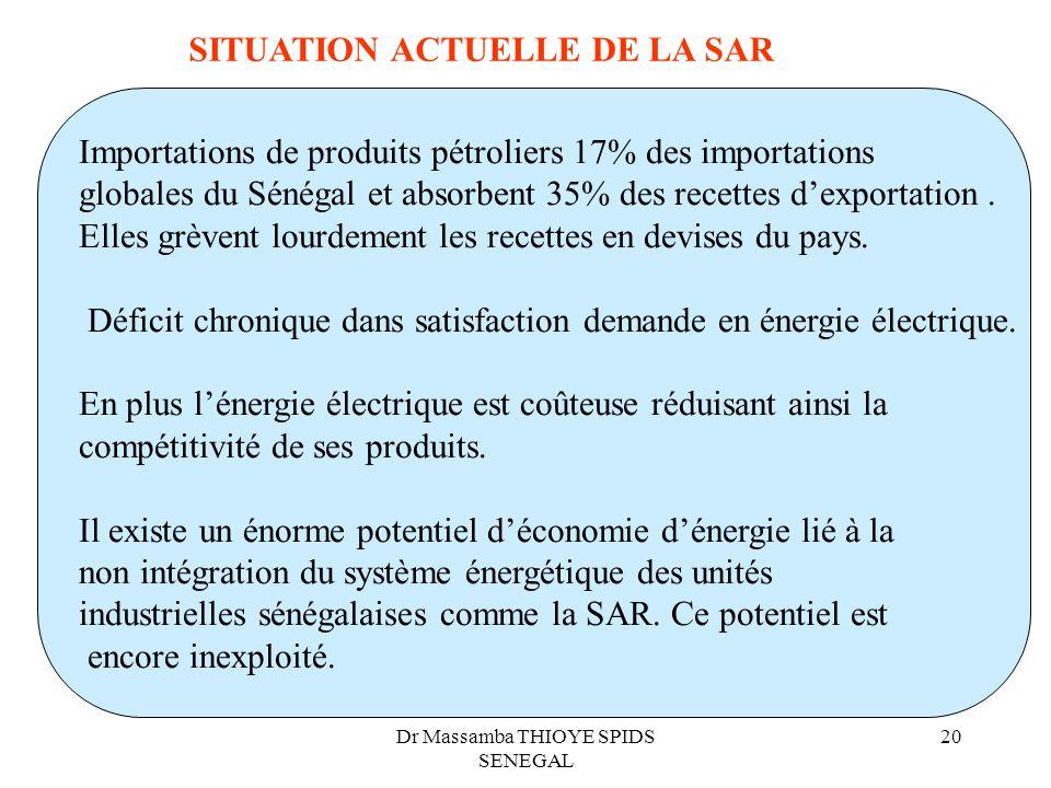 Dr Massamba THIOYE SPIDS SENEGAL 20 Importations de produits pétroliers 17% des importations globales du Sénégal et absorbent 35% des recettes dexport