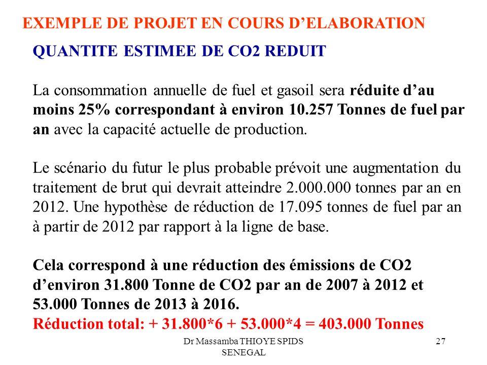 Dr Massamba THIOYE SPIDS SENEGAL 27 EXEMPLE DE PROJET EN COURS DELABORATION QUANTITE ESTIMEE DE CO2 REDUIT La consommation annuelle de fuel et gasoil