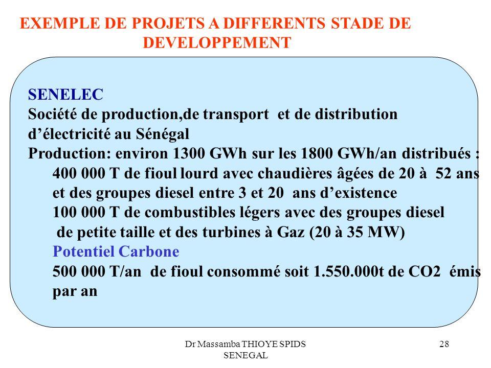 Dr Massamba THIOYE SPIDS SENEGAL 28 EXEMPLE DE PROJETS A DIFFERENTS STADE DE DEVELOPPEMENT SENELEC Société de production,de transport et de distributi