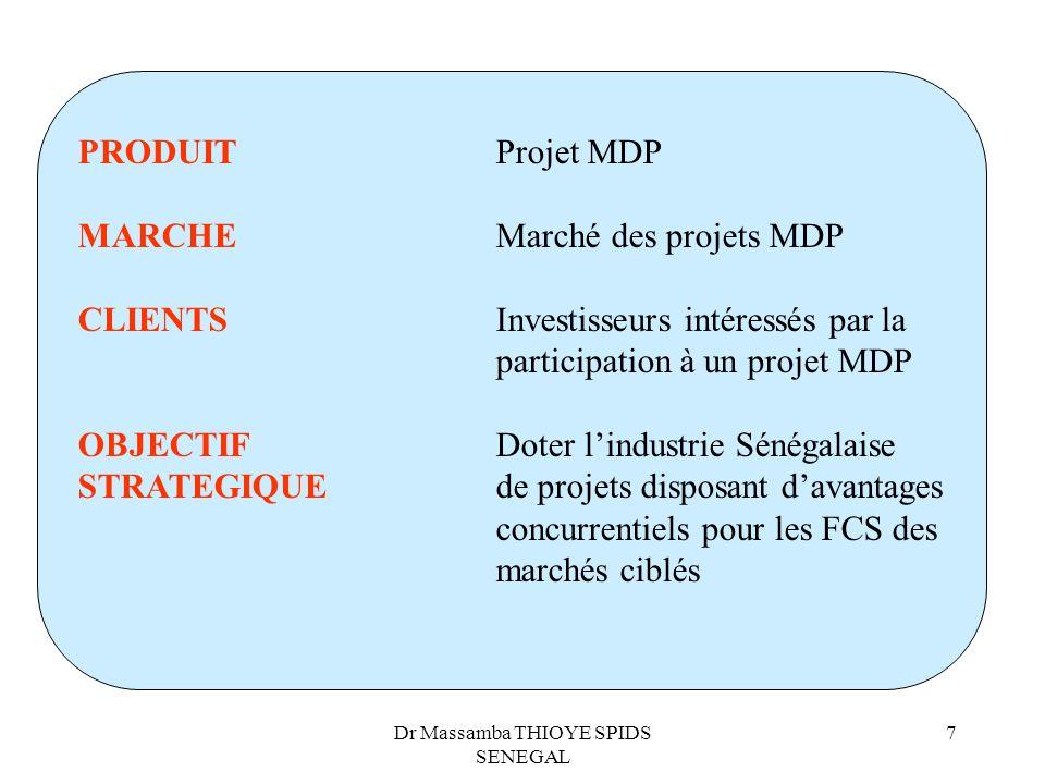 Dr Massamba THIOYE SPIDS SENEGAL 7 PRODUITProjet MDP MARCHEMarché des projets MDP CLIENTSInvestisseurs intéressés par la participation à un projet MDP