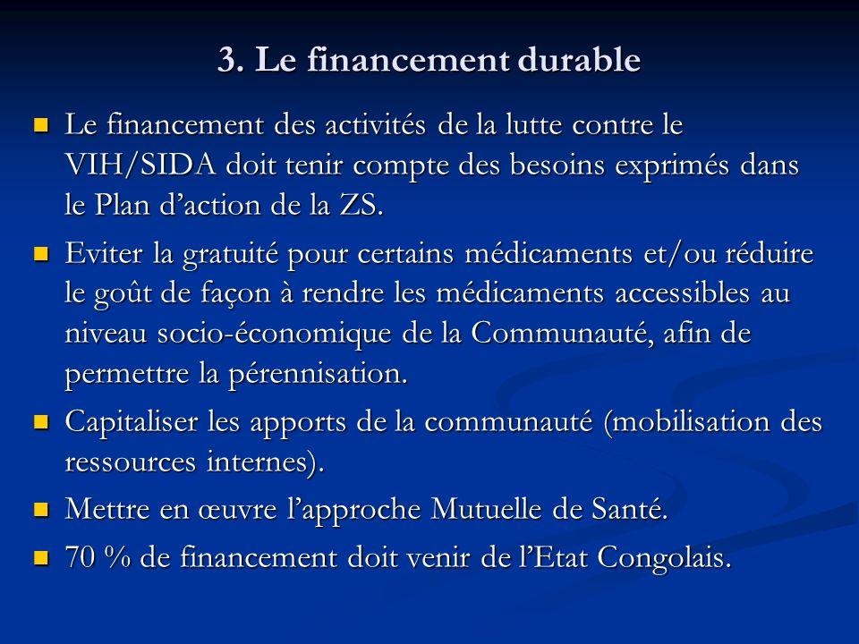 3. Le financement durable Le financement des activités de la lutte contre le VIH/SIDA doit tenir compte des besoins exprimés dans le Plan daction de l