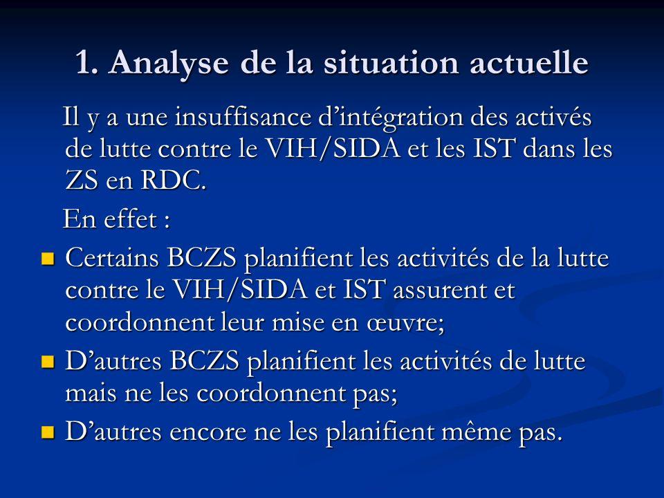 1. Analyse de la situation actuelle Il y a une insuffisance dintégration des activés de lutte contre le VIH/SIDA et les IST dans les ZS en RDC. Il y a